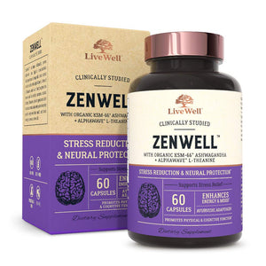 ZenWell Organic Ashwagandha — Stress Reduction & Neural Protection