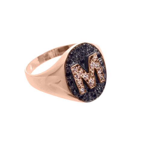 Monogram gold ring