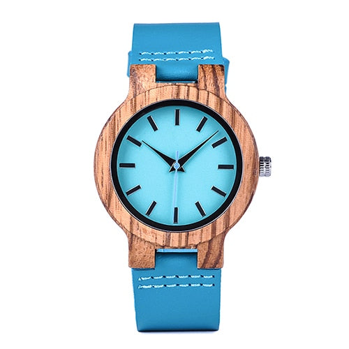 Unisex Natural Wood Watch With Leather Strap