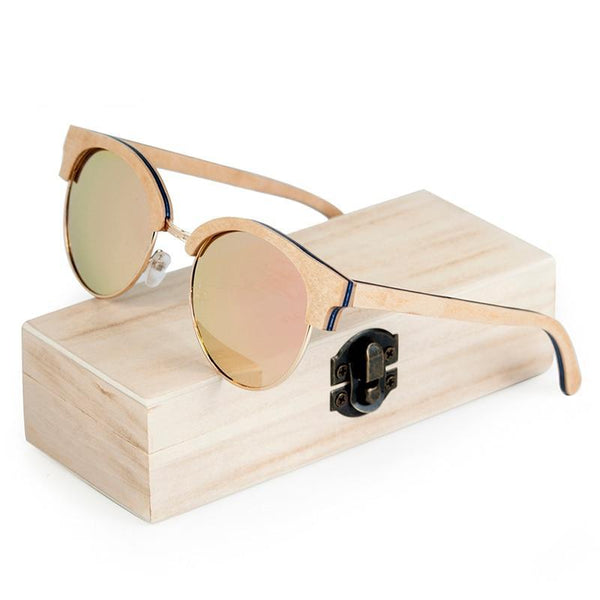 Lady's Wooden Sunglasses - Round