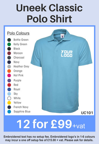 12 Uneek Classic Polo shirts for Only £99 + vat