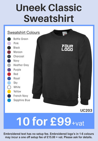 10 Uneek Classic Sweatshirts for Only £99 + vat