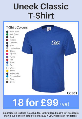 18 Uneek Classic T-Shirts for Only £99 + vat