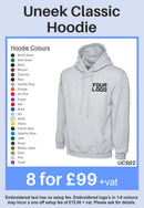 8 Uneek Classic Hoodies for Only £99 + vat