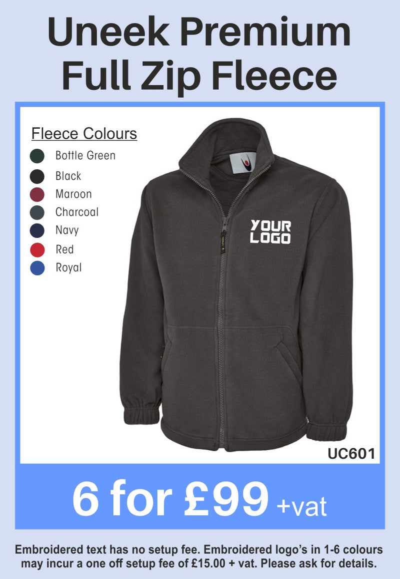 6 Uneek Premium Full Zip Fleeces for Only £99 + vat