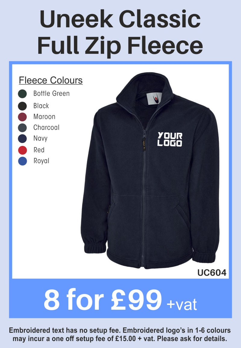 8 Uneek Classic Full Zip Fleeces for Only £99 + vat