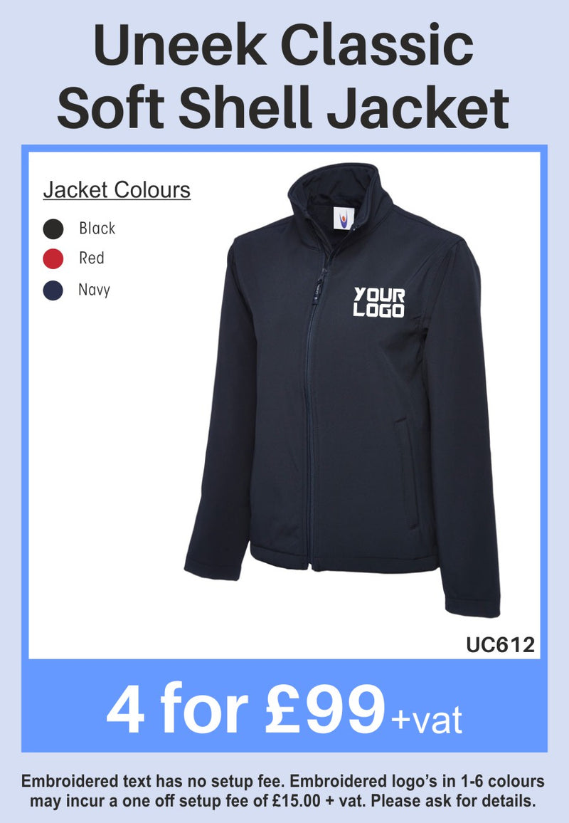 4 Uneek Classic Softshell Jackets for Only £99 + vat