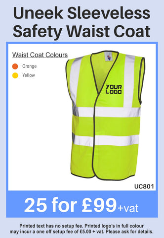 25 Uneek Hi-Vis Vest for Only £99 + vat