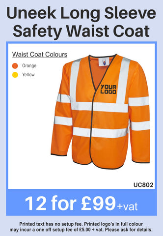 12 Uneek Longsleeve Hi-Vis Vest for Only £99 + vat