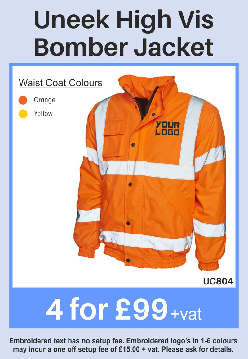 4 Uneek Hi-Vis Bomber Jackets for Only £99 + vat