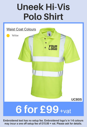 6 Uneek Hi-Viz Polo Shirts for Only £99 + vat