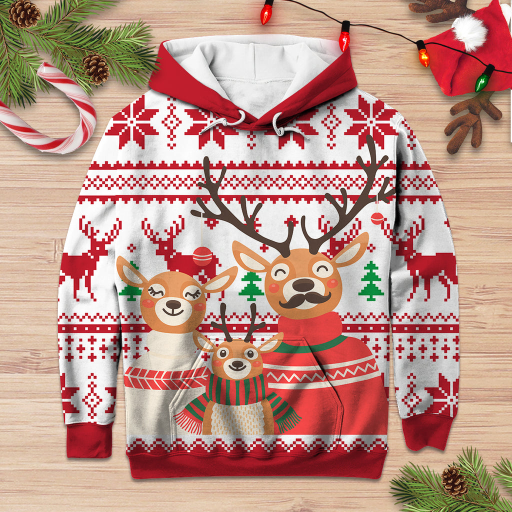 Cute Deer Family Christmas Hoodie3D