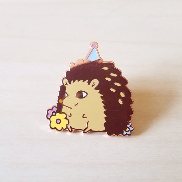 Hedgehog Forest Party Hard Enamel or Lapel Pin - Cute Woodland Animal Birthday Party