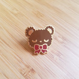 BROWN Sleepy Bear Enamel Pin - Kawaii Teddy Bear Enamel Pin