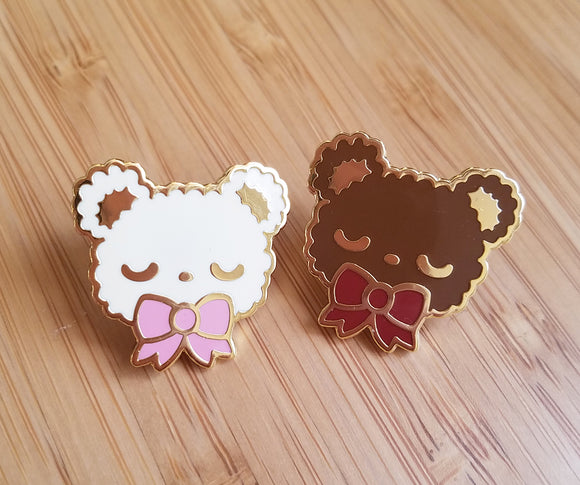 SECONDS SALE Sleepy Bear Enamel Pin - Kawaii Teddy Bear Enamel Pin