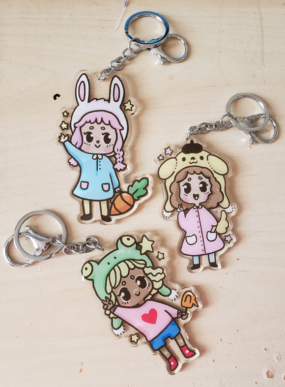 CLEARANCE Kawaii Animal Kids Acrylic Keychains Charms