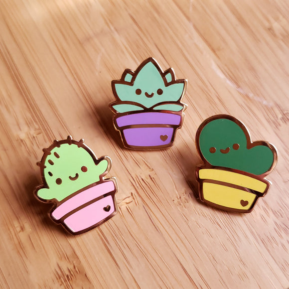 UGLY GARDEN - Cute Cactus Enamel Pin Set - Succulent Pin, Prickly Pear pin