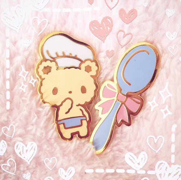 Bon Appetit Bear Enamel Pin - Chef Bear and Spoon Lapel Pin Set