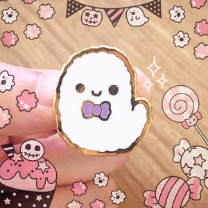 Boo! Ghost Enamel Pin - Cute Halloween Ghost Pin