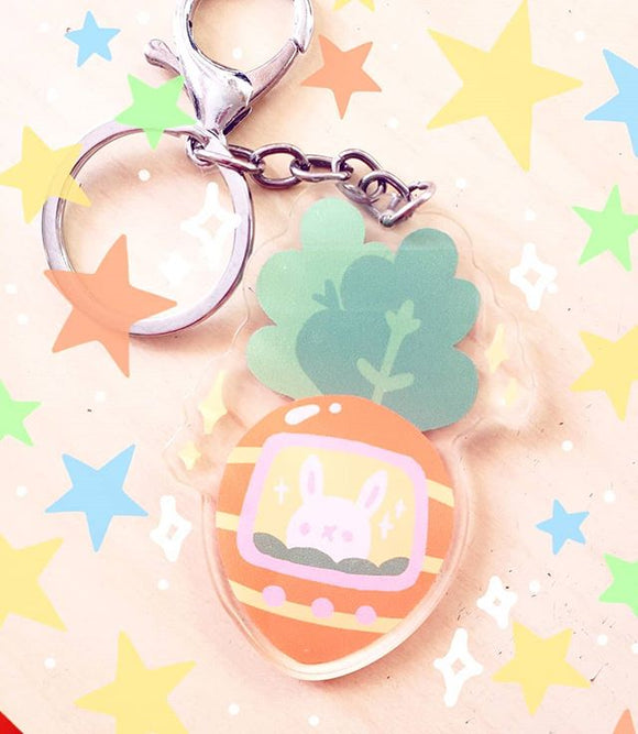 Cute Carrot Tamogotchi-inspired Arlylic Keychain