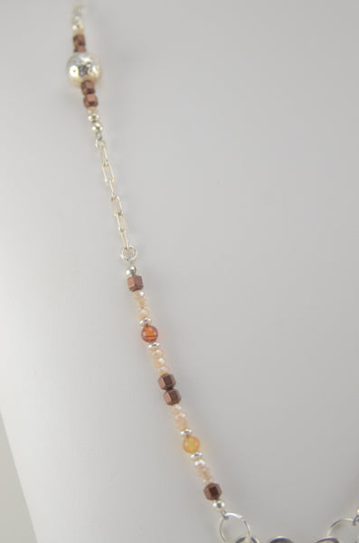 Brown Snake Charm Necklace with Stone