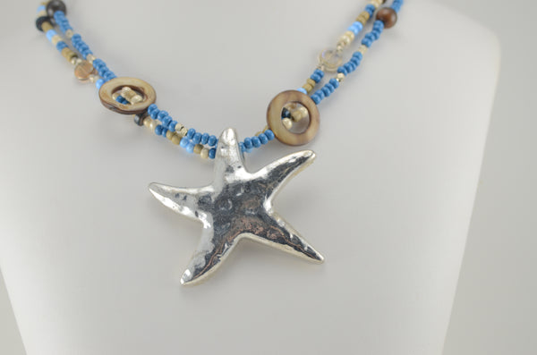 Blue and Gold Two Strand Necklace with Starfish Pendant