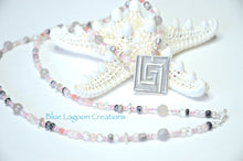 Load image into Gallery viewer, Fine Silver Greek Key Pendant Peach Agate Beaded Necklace