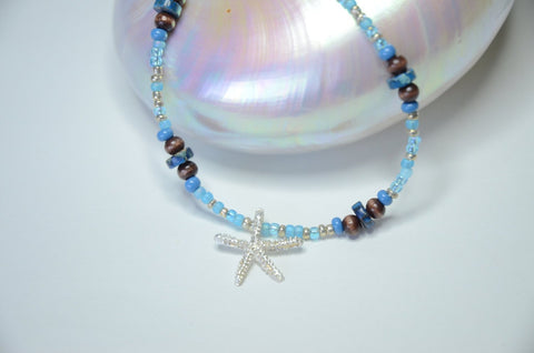 Blue and Brown Fine Silver Starfish Pendant Necklace