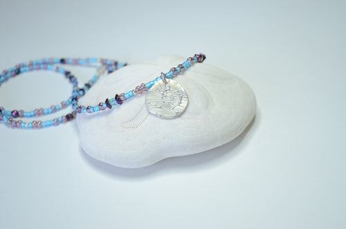 Aqua and Purple Fine Silver Sea Shell Medallion Necklace