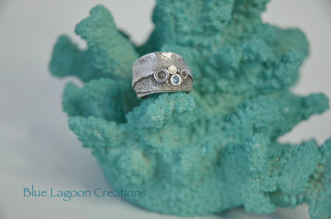 Sea Bubbles Ring with Blue CZ stone