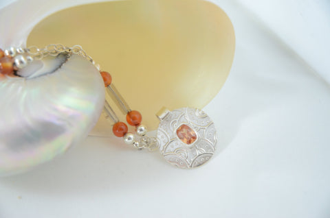 Sterling Silver Pendant Necklace with Orange and Grey Stones