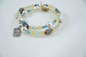 Yellow and Aqua Memory Wire Bracelet with Silver and Crystals and Jasper
