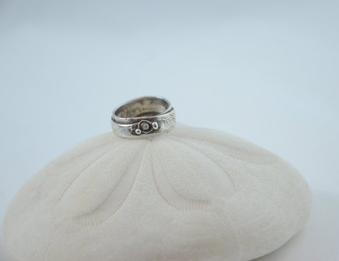 Small Fine Silver Sea Bubbles Ring with Cubic Zirconia Stone
