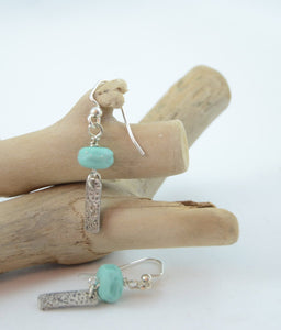 Sea Green and Silver Lampwork Earrings