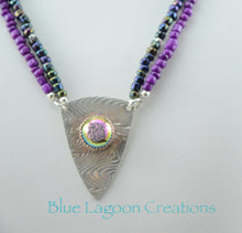 Load image into Gallery viewer, Two Strand Purple Bead Necklace w/ Sterling Silver Shield and Bezel Set Druzy