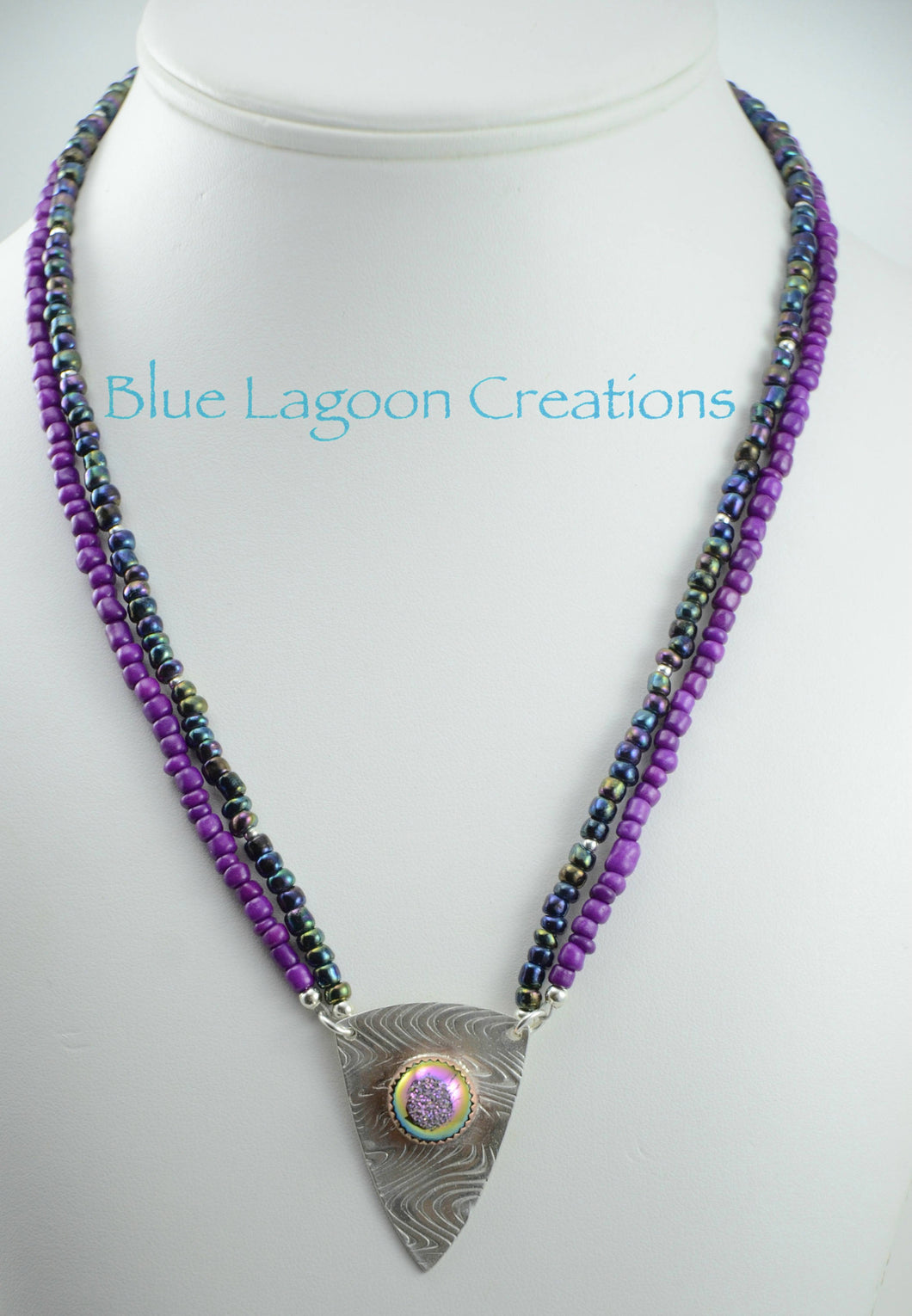 Two Strand Purple Bead Necklace w/ Sterling Silver Shield and Bezel Set Druzy