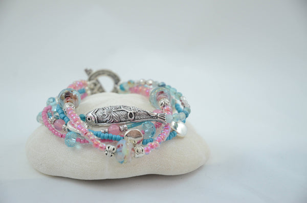 Bright Pink and Turquoise 5 Strand Fish Bracelet