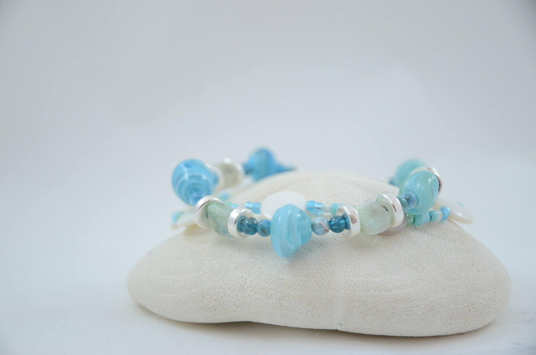 Two strand Sea Blue Lampwork and Mother of Pearl Bracelet