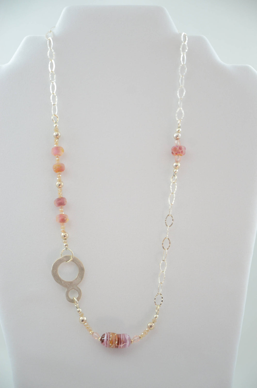 Maroon and Peach Offset Pendant Necklace