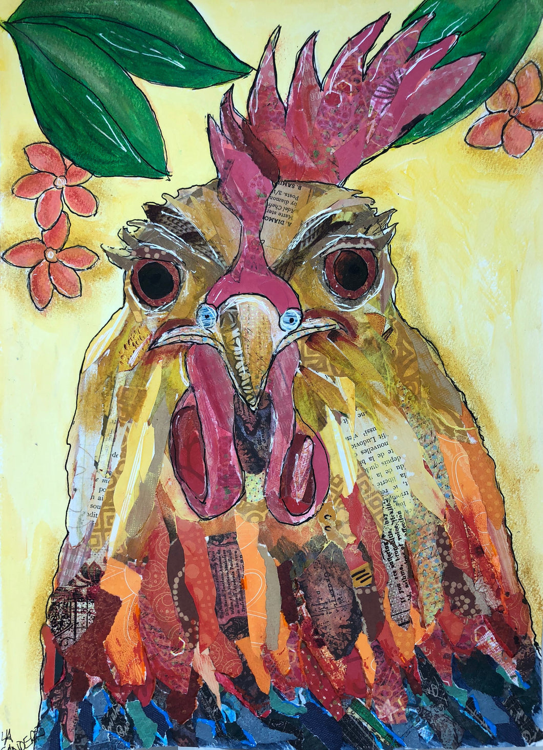 Key West Chicken Mixed Media Painting on Paper