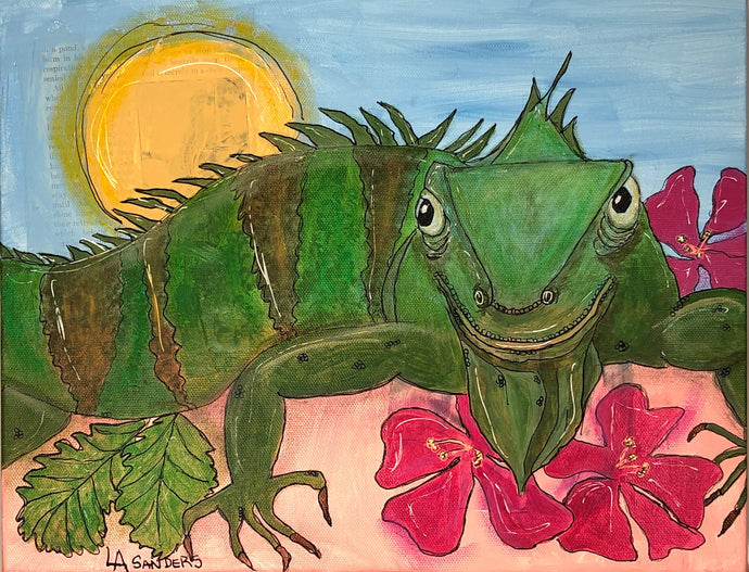 Sun Bathing Iguana Mixed Media Painting on Canvas