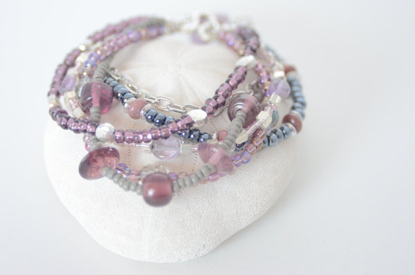 Multistrand Purple and Grey Lampwork Beaded Bracelet, Sterling Silver Clasp