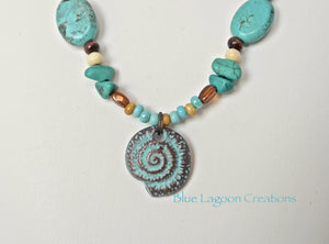 Turquoise and Seashell Beaded Necklace Pendant