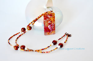 Copper Seahorse Beaded Necklace Pendant