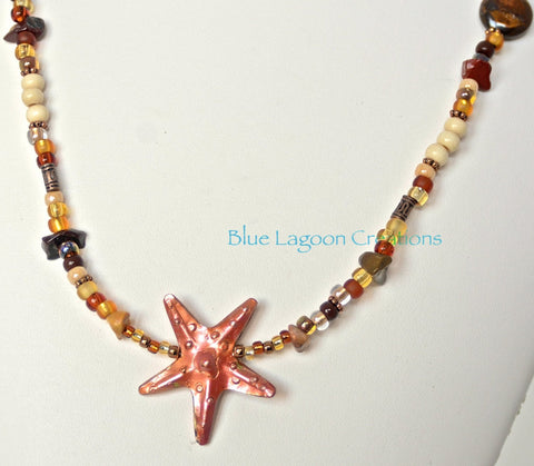 Brown and Copper Starfish Beaded Necklace