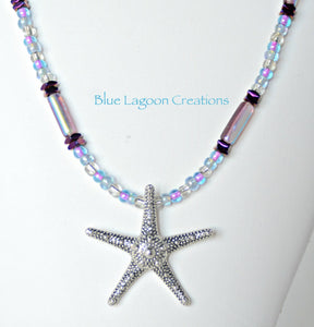Blue Lagoon Beaded Necklace Purple with Silver Starfish