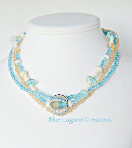 Blue Lagoon Creations Lampwork Multistrand Beaded Necklace