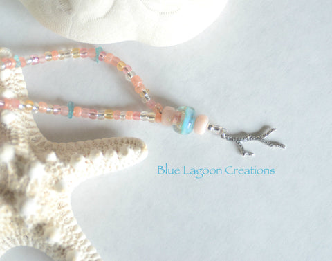 Peach, Pink and Blue Lampwork and Beaded Necklace with Sterling Silver Coral Branch Charm