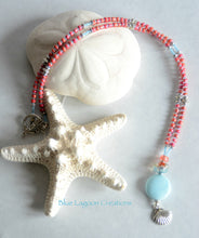 Load image into Gallery viewer, Pink and Blue Clam shell Charm Necklace