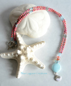 Pink and Blue Clam shell Charm Necklace